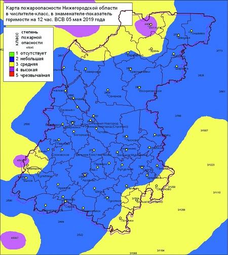 Карта  пожароопасности Нижегородской области